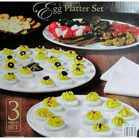 Personalized Ceramic Platters (Classic Ceramic Egg Platter Set - 3pc, White )