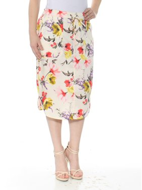 42869b04e2b Product Image RALPH LAUREN Womens Ivory Floral Twill Below The Knee Pencil  Wear To Work Skirt Size