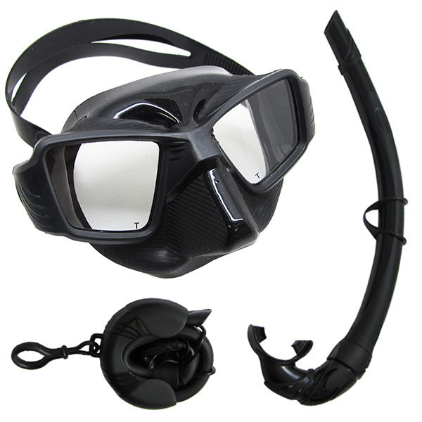 Spearfishing Free Dive Ultra Comfort Fit Silicone Dive Mask & Travel Snorkel Set by Scuba-Choice