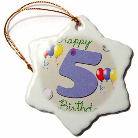 3dRose Happy fifth birthday. Digital scrapbook design for boys with a blue felt looking number five, Snowflake Ornament, Porcelain, 3-inch