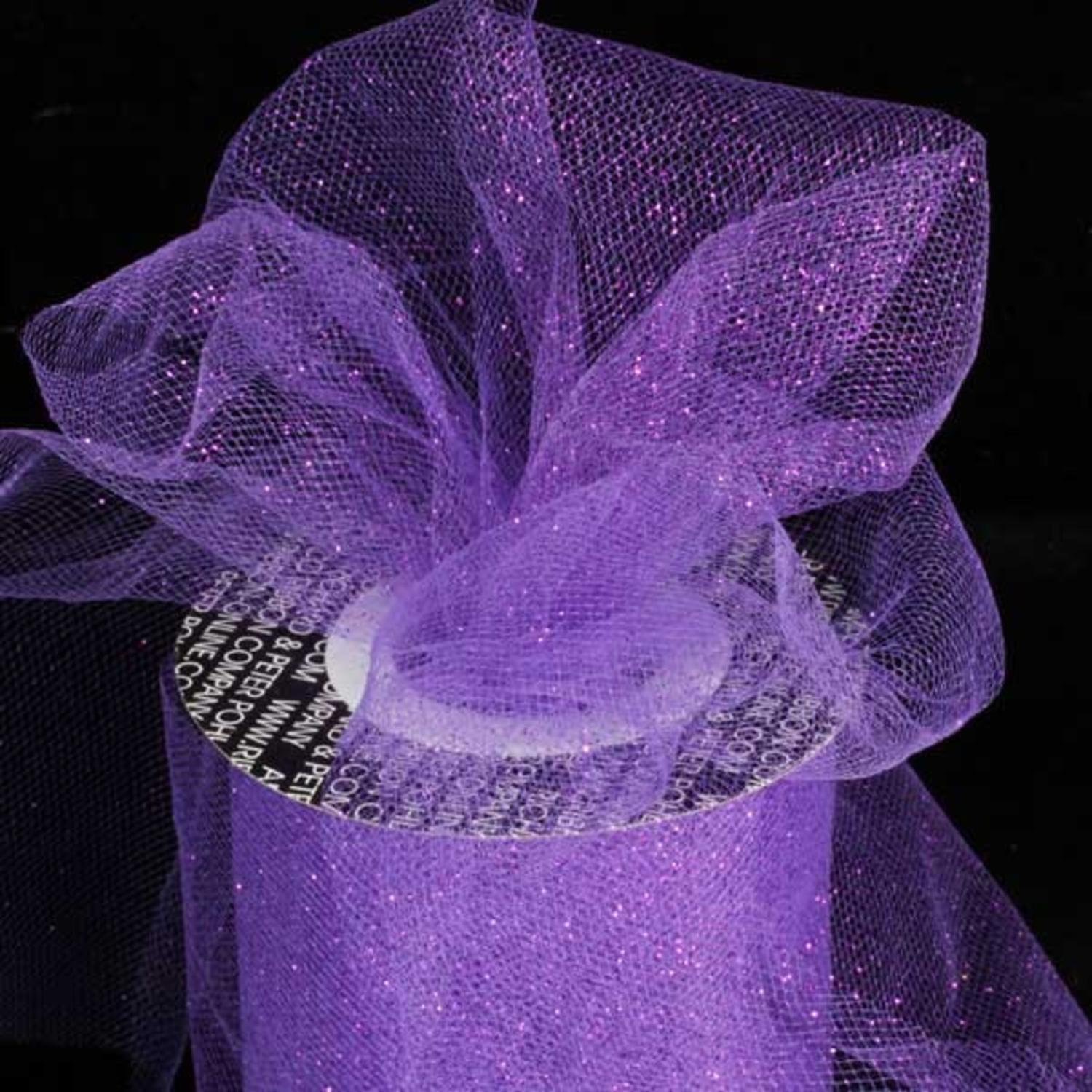 "Designer Amethyst Purple Glitter Tulle Craft Ribbon 6"" x 110 Yards"