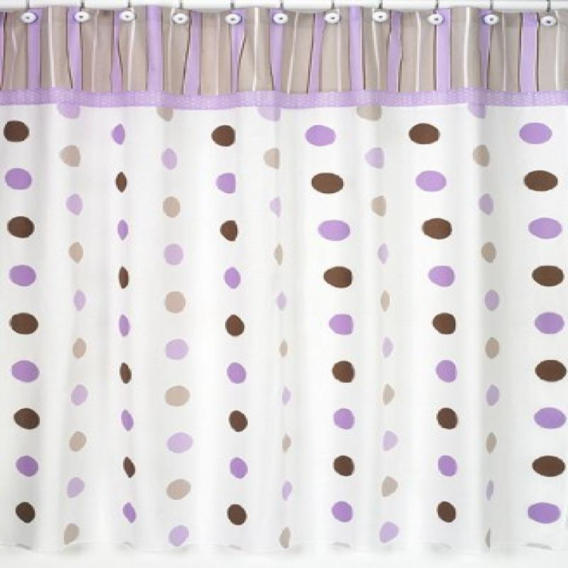 Purple and Brown Mod Dots Kids Bathroom Fabric Bath Shower Curtain by Sweet Jojo Designs by