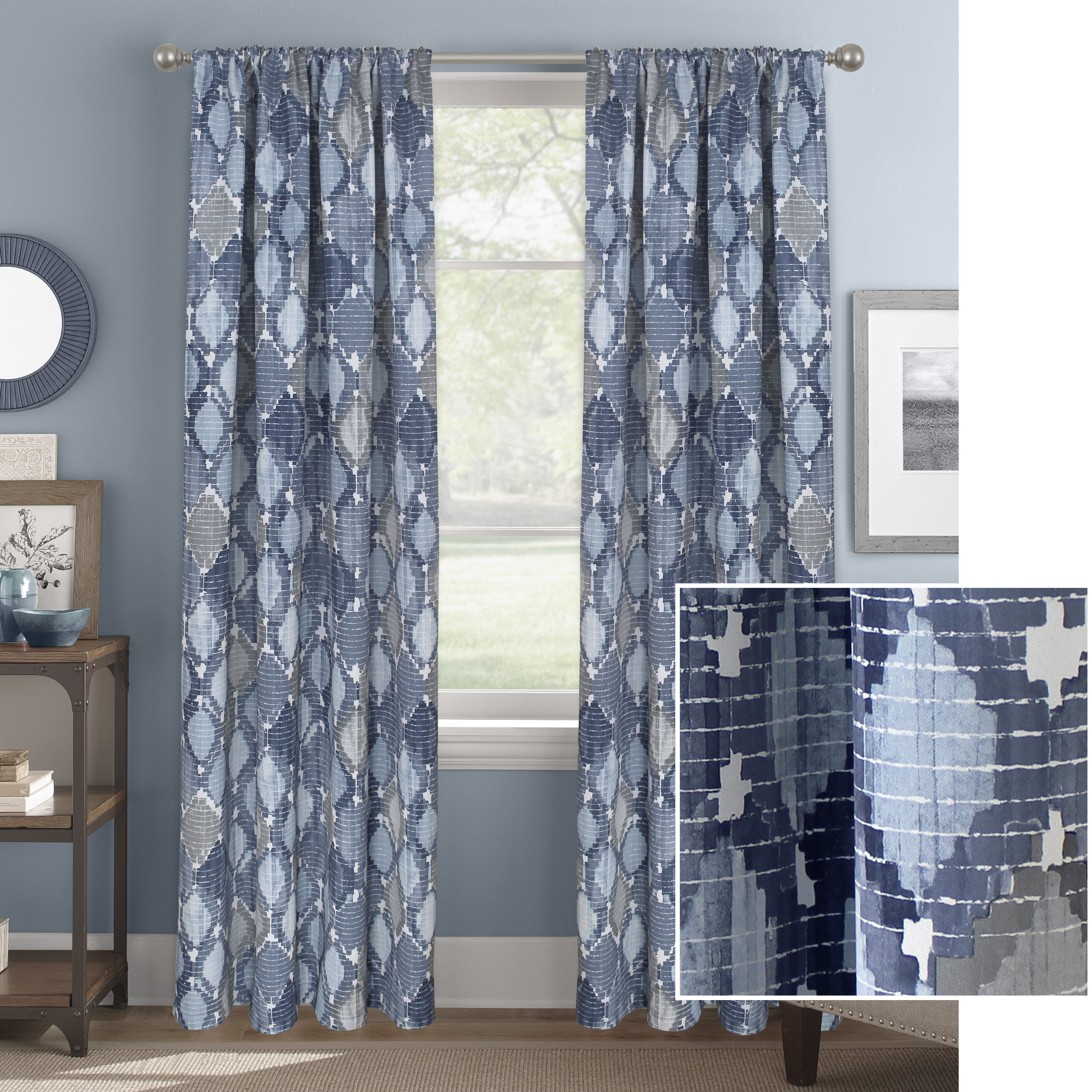 Better Homes & Gardens Dyed Ogee Room Darkening Window Curtain Panel