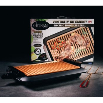 Gotham Steel Smokeless Electric Grill with Interchangeable Griddle Surface