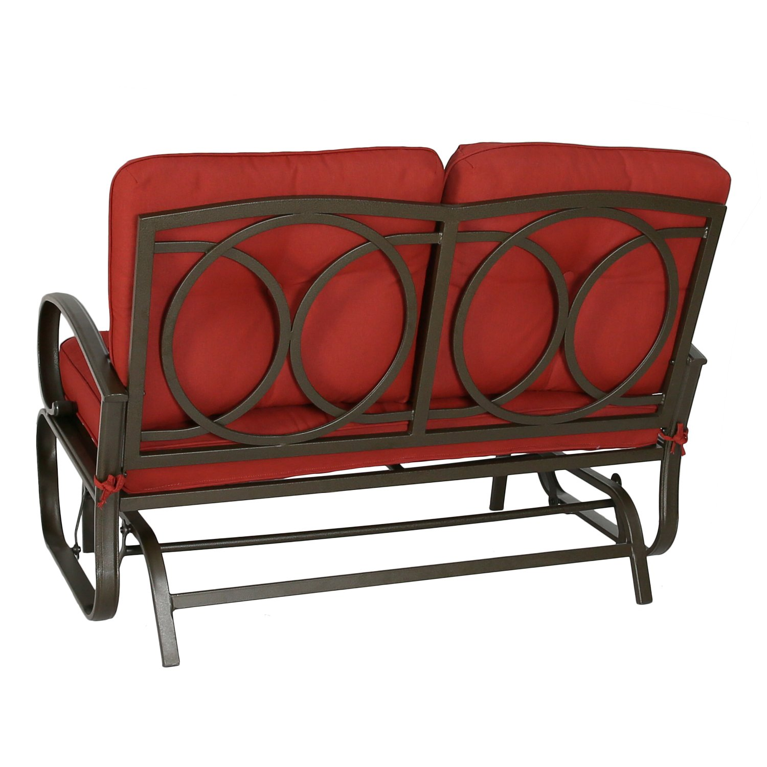 Magnificent Patio Glider Bench Loveseat Outdoor Cushioed 2 Person Rocking Seating Patio Swing Chair Brick Red Customarchery Wood Chair Design Ideas Customarcherynet