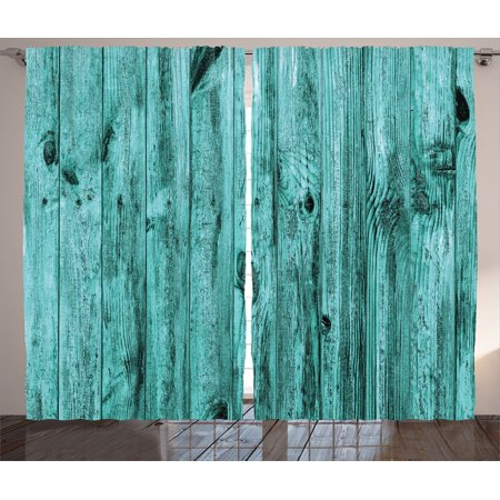Turquoise Decor Curtains 2 Panels Set, Wall Of Turquoise Wooden Texture Background Antique Timber Furniture Artful Print, Living Room Bedroom Accessories, By Ambesonne ()