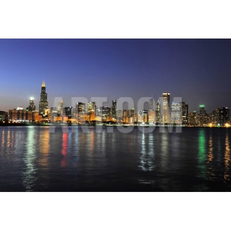 Chicago Outdoor Wall - Partial View of Downtown Chicago Skyline at Dusk Print Wall Art By Gino Santa Maria