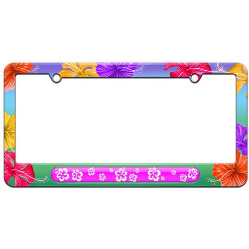 Hibiscus Pink Flowers License Plate Tag Frame Multiple Colors