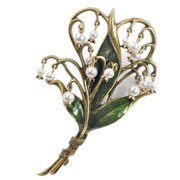 Sweet Romance Lily of the Valley Art Nouveau Pearl Flower Pin Brooch