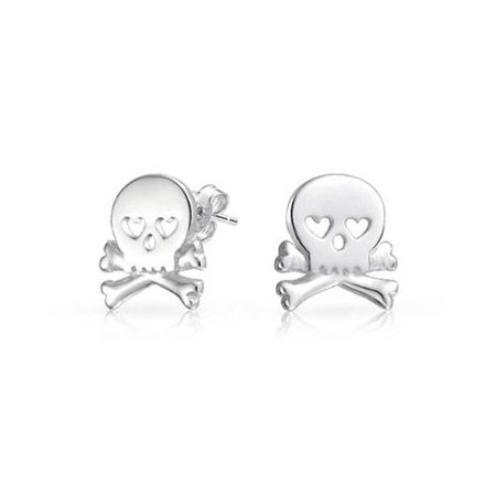 925 Sterling Silver Goth Heart Skull and Crossbones Stud Earrings