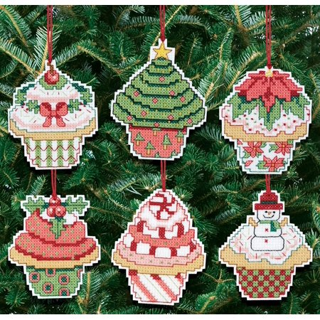 Christmas Cupcake Ornaments Counted Cross Stitch Kit, 3