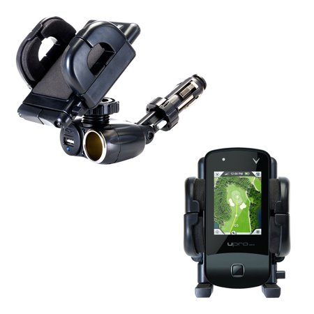 Dual USB / 12V Charger Car Cigarette Lighter Mount and Holder for the uPro uPro Golf GPS
