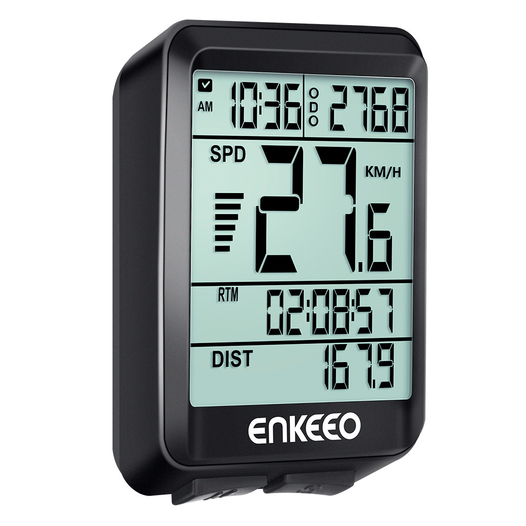 Enkeeo Wired Bike Computer with Current/AVG/MAX Speed Tracking Speedometer , Trip Time/ Distance Recording Odometer for Cycling