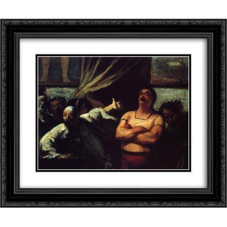 Matt Booth - Honore Daumier 2x Matted 24x20 Black Ornate Framed Art Print 'Barker at a fair booth'