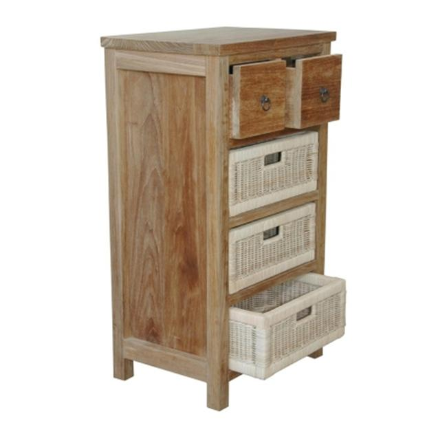 Andersonteak TB-2130C Safari Occasional Table with Drawer & Rattan Baskets