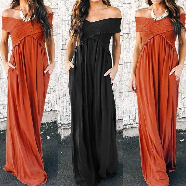 Women Boho Long Maxi Dress Ladies Cocktail Party Evening Summer Beach Sundress Black Size L