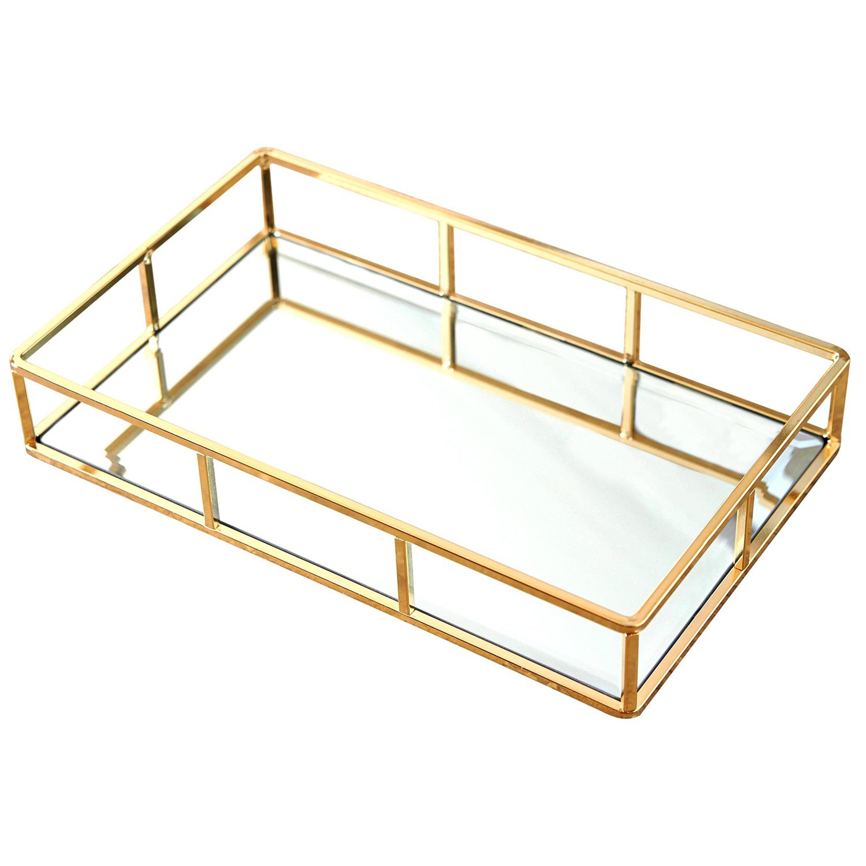 Putwo Decorative Tray Organizer Gold Mirror Tray Jewelry Perfume Makeup Holder For Dresser Bathroom Bedroom Walmart Com Walmart Com