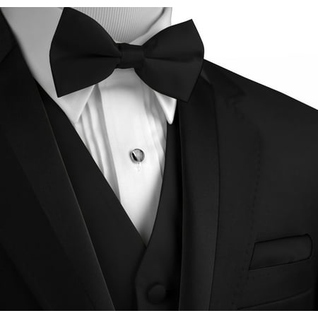 Italian Design, Men's Formal Tuxedo Vest, Bow-Tie & Hankie Set for Prom, Wedding, Cruise in Black -
