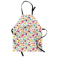 Butterfly Apron Colorful Flying Butterfly Silhouettes Fantasy Dreamy Spring Nature Wildlife Theme, Unisex Kitchen Bib Apron with Adjustable Neck for Cooking Baking Gardening, Multicolor, by Ambesonne