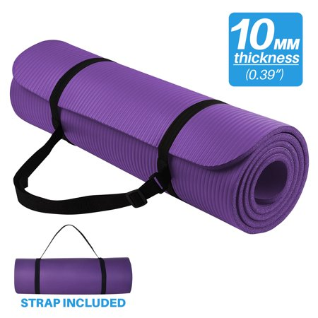 Exercise Yoga Mat, High Density Anti-Tear Fitness Mat, Thick Non Slip Exercise Mat with Carrying Strap (Purple)