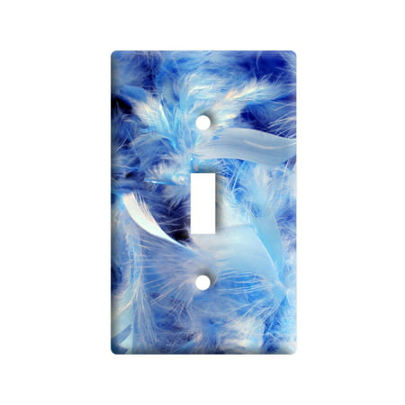 Blue Fluffy Feathers - Angel Light Switch Plate Cover - Lightswitch Cover