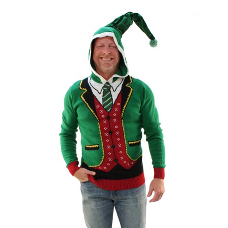 Ugly Christmas Sweater Men's Head Elf Boss Suit Hooded Pullover - Christmas Sweaters Calgary