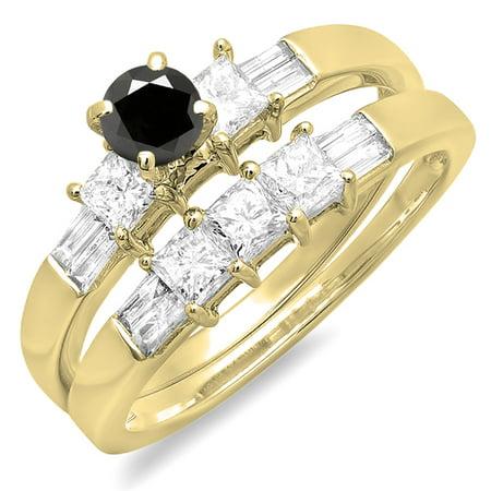 1.00 Carat (ctw) 18K Yellow Gold Round Princess & Baguette Cut Black & White Diamond Ladies Bridal Engagement Ring Set 1