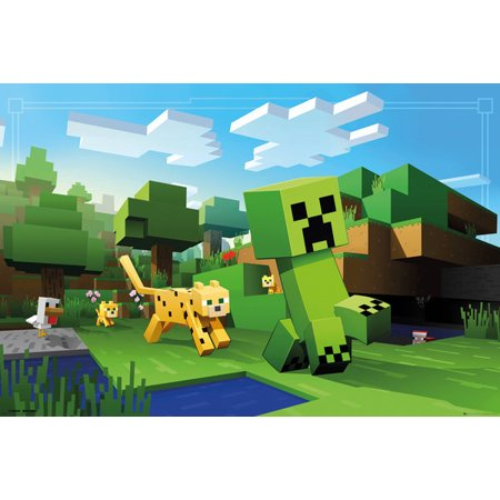 Minecraft - Gaming Poster / Print (Ocelot Chasing Creeper) (Size: 36