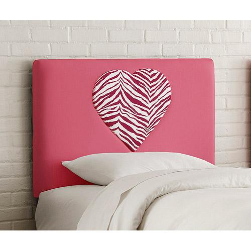 Skyline Furniture Upholstered Heart Headboard, Full, Fr. Pnk/Zebra