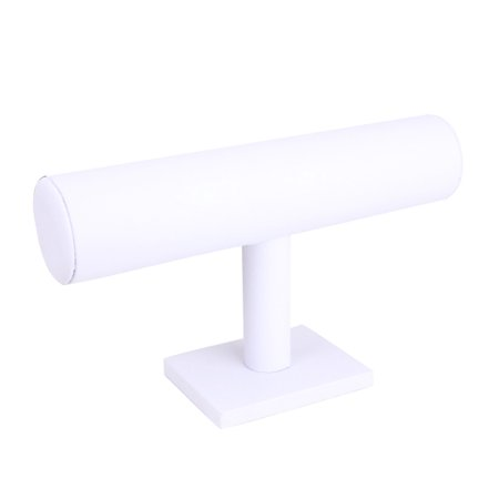 White Leather Earring Display Stand - Mosunx Leather Jewelry Rack Bracelet Necklace Stand Organizer Holder Display White