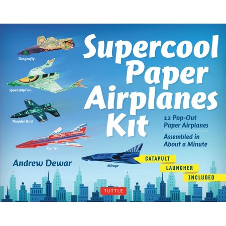 Supercool Paper Airplanes Kit : 12 Pop-Out Paper Airplanes Assembled in About a Minute: Kit Includes Instruction Book, Pre-Printed Planes & Catapult (Best Paper Airplane In The World 2019)