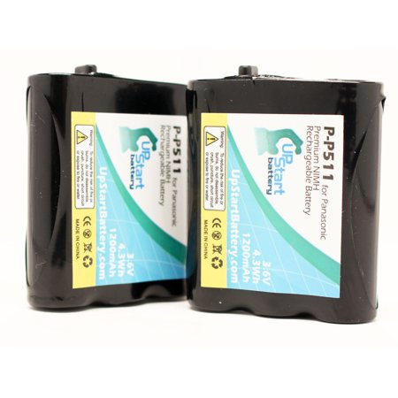 2x Pack - P-P511 Battery for Panasonic KX-TGA270S, KX-TG2740, KX-FPG376, KX-TG2730, KX-TGA510M, KX-FPG371, KX-TG5100 Cordless Phones (1200mAh, 3.6V, NI-MH) - image 3 de 3