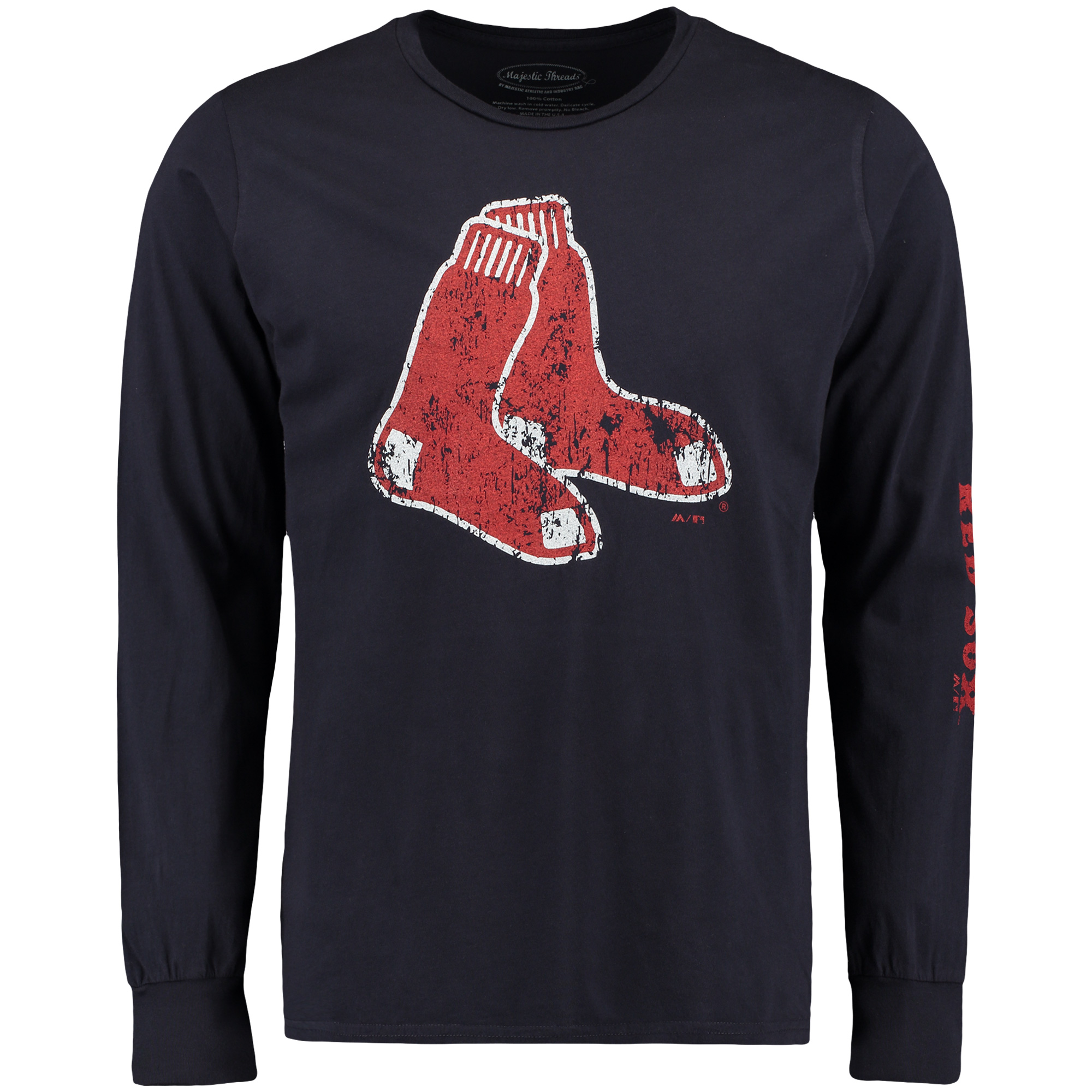 Boston Red Sox Majestic Threads Ballpark Softhand Long Sleeve T-Shirt - Navy