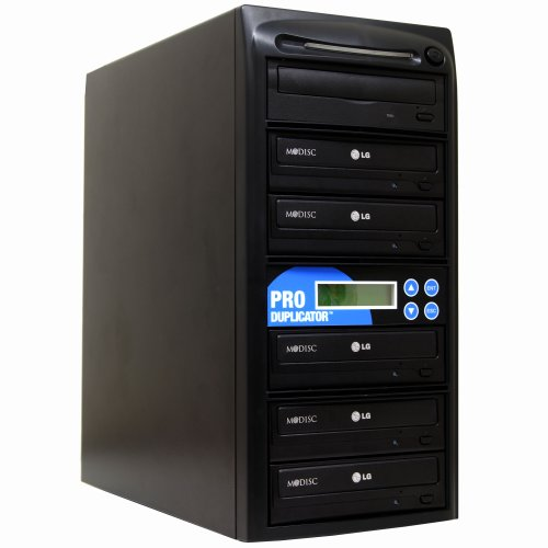 Produplicator 1 to 5 24X CD DVD Duplicator Copier with 128MB Buffer Speed (Built-in M-Disc Support Burner) + FREE Nero E