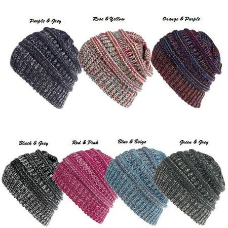 Womens Beanie Tail Messy Soft Bun Hat Ponytail Stretchy Knit Crochet Skull Cap