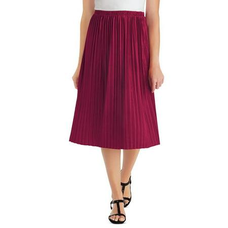 Women's Primitive Classic Pleated Velvet Mid-Length Skirt with Elastic Waistband, Medium, Burgundy - Made in the USA](Mid Length Petticoat)