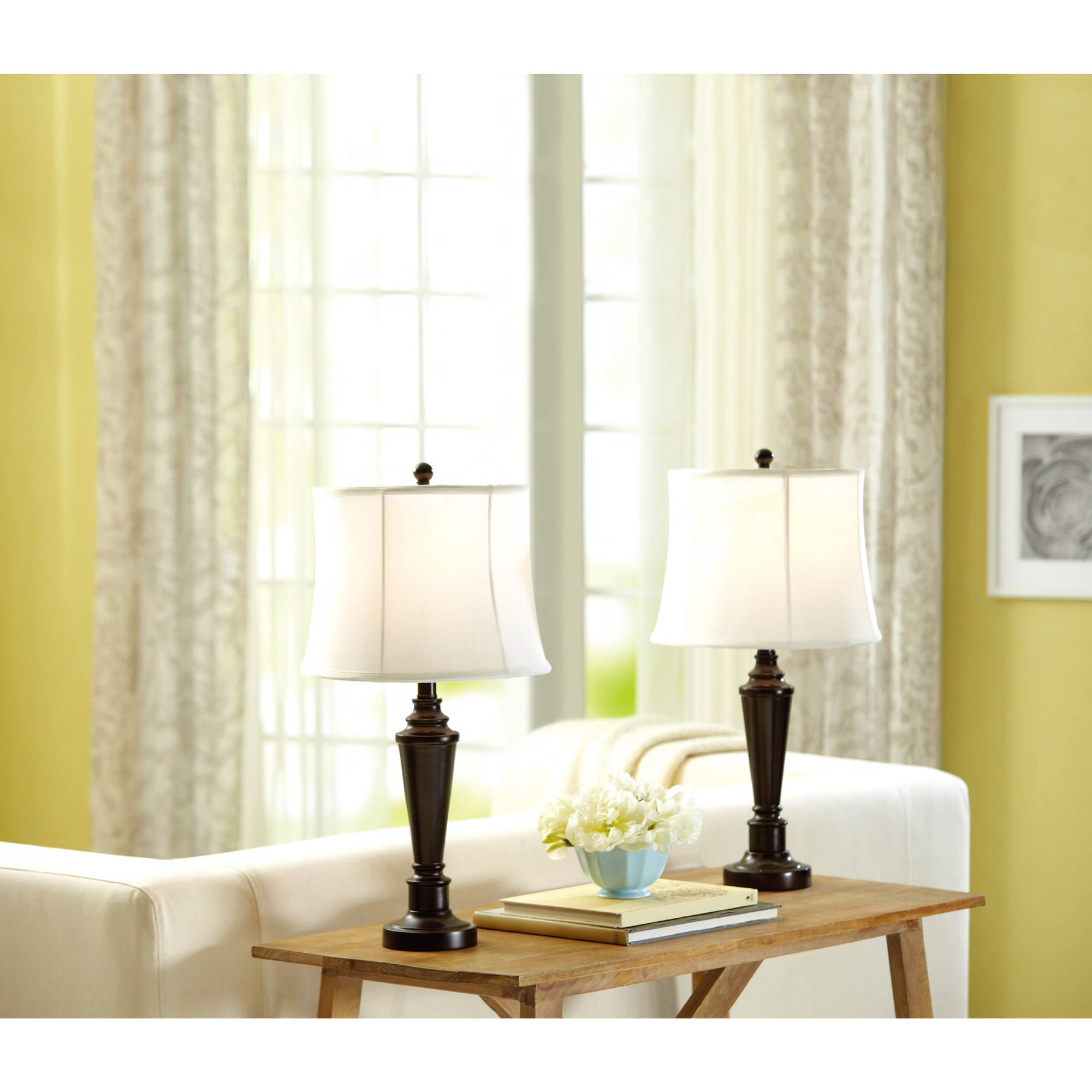 Better Homes and Gardens Transitional 2-Piece Lamp Set with Bulbs
