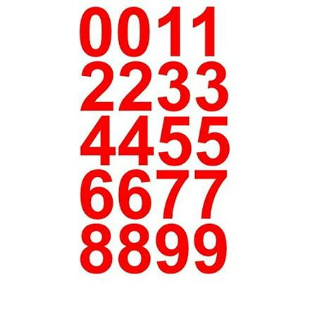 Sheet of 1 Inch (Red) Numbers Vinyl Custom Street Address Mailbox Decal Stickers (1 Vinyl Decal Sticker)
