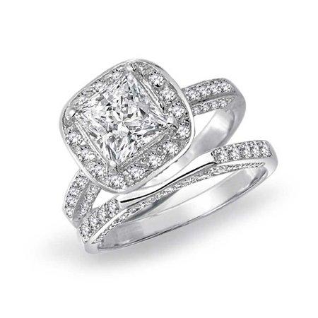 Cubic Zirconia Wedding (Princess Cut Square Cubic Zirconia Engagement Wedding Ring Promise CZ Bridal Set 925 Sterling Silver 3)