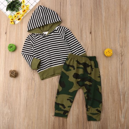 efd810b5b4de7 2Pcs Outfits Clothes Set Newborn Baby Kids Boys Stripe Short Sleeve T-shirt  Top+Camouflage Pants Trousers - Walmart.com