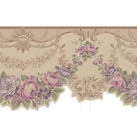 Potted Floral Wallpaper Border - 879076 Scalloped Edge Gold Satin Floral Wallpaper Border 978b05166