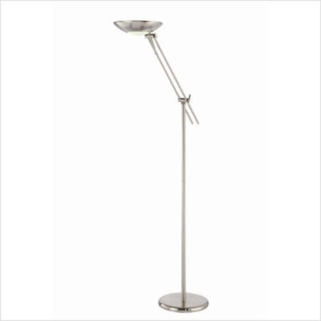 Lite source polished steel fluorescent torchiere floor for Fluorescent torchiere floor lamp parts