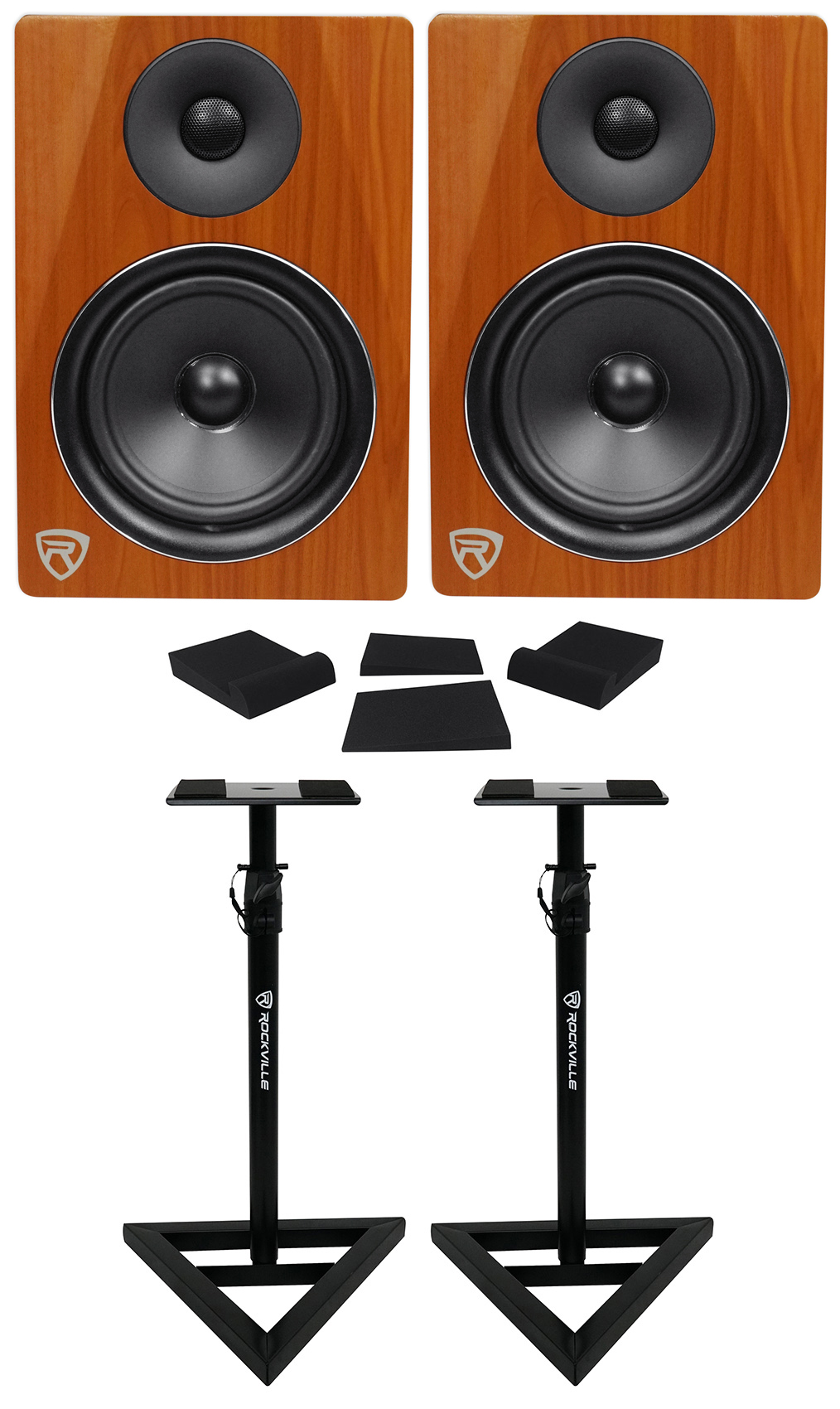 "2) Rockville DPM6C Dual Powered 6.5"" 420 Watt Active Studio Monitors+Stands+Pads by ROCKVILLE"