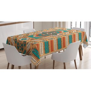 Tribal Decor Tablecloth, Indian Aztec Secret Tribe Pattern Native American Bohemian Style, Rectangular Table Cover for Dining Room Kitchen, 60 X 84 Inches, Apricot Orange and Teal, by Ambesonne