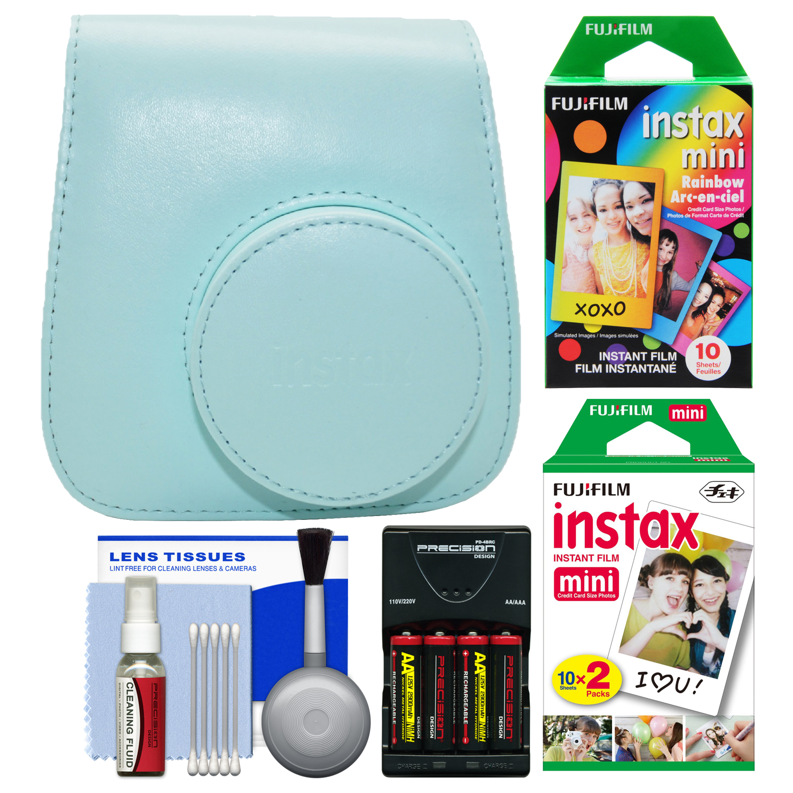 Fujifilm Groovy Case for Instax Mini 9 Instant Camera (Ice Blue) with 20 Twin & 10 Rainbow Prints + Batteries & Charger + Cleaning Kit