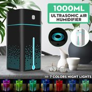 2 in1 1000ml Ultrasonic Mist Air Humidifier & Facial Humidifier Aroma Essential  Oil Diffuser Purifier Atomizer 7 Color LED Lights For Home Bedroom Baby Room Office