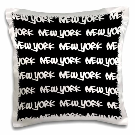 3dRose New York text design - white words on black - NY city souvenir NYC cool urban graffiti font pattern - Pillow Case, 16 by 16-inch](Cool Halloween Events Nyc)