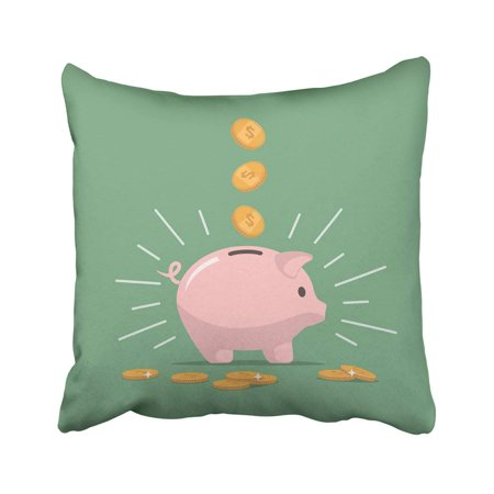 BPBOP Pink Piggy Bank With Falling Coins The Of Saving Money Open Deposit Investments In Future Pillowcase Throw Pillow Cover Case 18x18 inches ()