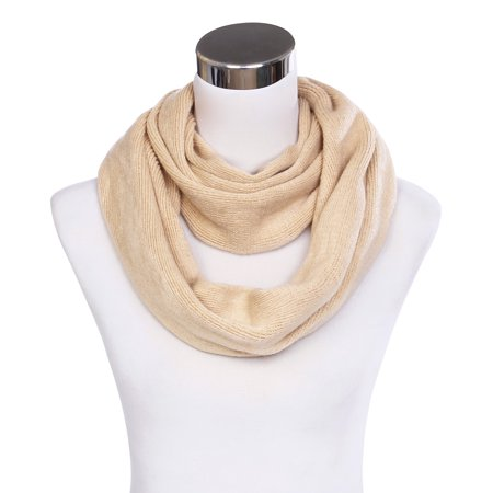 - Premium Fine Knit Solid Color Winter Infinity Loop Circle Scarf