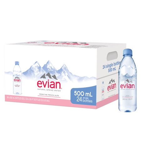 Sport Bottle Spring Water (Evian Natural Spring Water, 16.9 Fl Oz, 24 Ct)